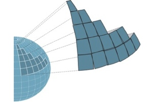 Illustration of earth coordinate grid