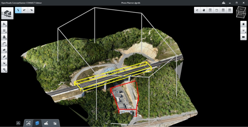 An image in ContextCapture photo planning that shows operation (gray), target (yellow), and forbidden (red) zones. Image courtesy of Bentley Systems