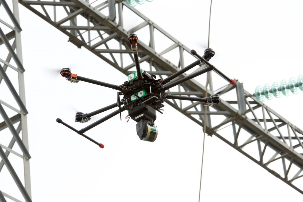 Hovermap in action, lidar-mapping electrical infrastructure.